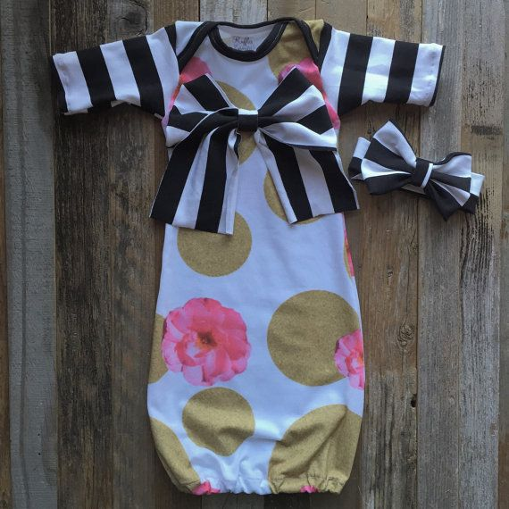 Pink and gold baby girl gown black white gold by Rufflesnbuttons