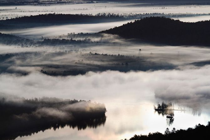 morning fog over bear pond, adirondack park , new york