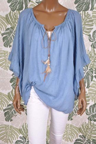 Gipsy look blouse met wijde mouwen PENELOPE blauw
