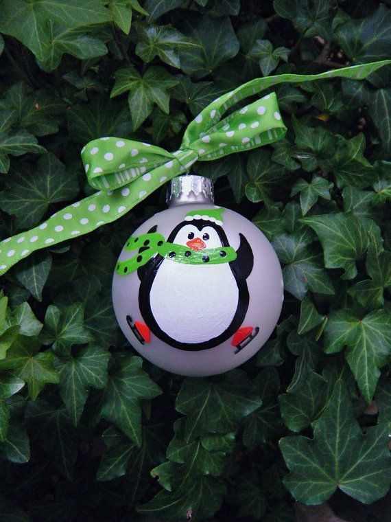 Skating Penguin Ornament -Personalized Penguin with Ice Skates - Hand Painted Glass Ball Christmas Ornament