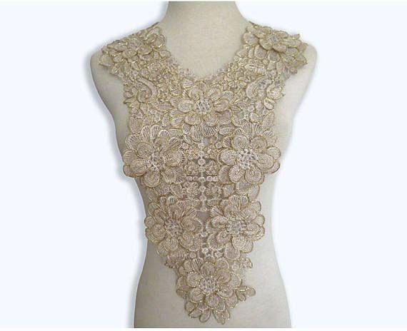 Weiß Polyester Blumen Ausschnitt-Spitze-Kragen-Venise Nähen Applikationen