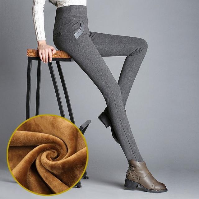 Winter Leggings Women Plus Thick Velvet Pencil Pants Elastic Waist Trousers Warm Leggings Outer Wear Leggins Plus Size S-6XL 15
