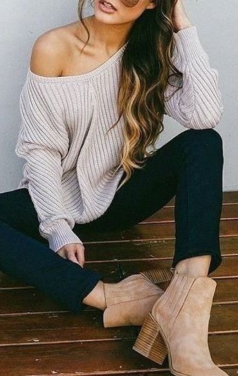 #fall #outfits / off-the-shoulder knit + booties