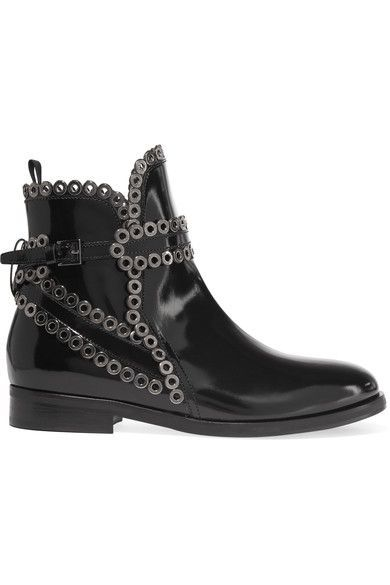 Alaïa - Eyelet-embellished Glossed-leather Chelsea Boots - Black - IT38.5