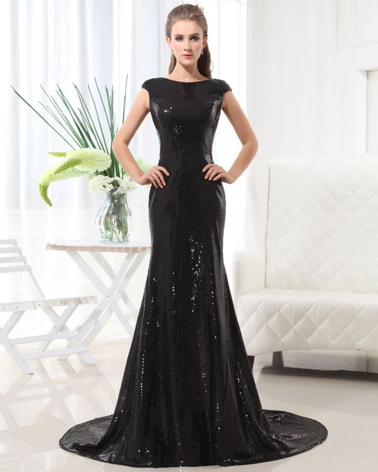 Sleeveless Sequins Floor Length Dress