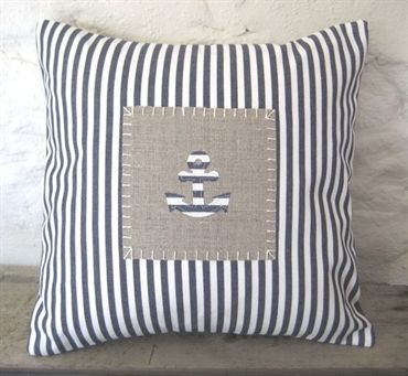 Blue Ticking Applique Anchor Cushion