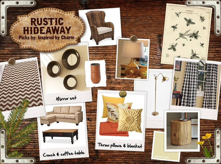 rustic pinboard: Rustic Hideaway, Bees Prints, Living Rooms, Patterns Inspiration, Inspiration By Charms, Design Boards, Places, Bumble Bees, Cozy Colors