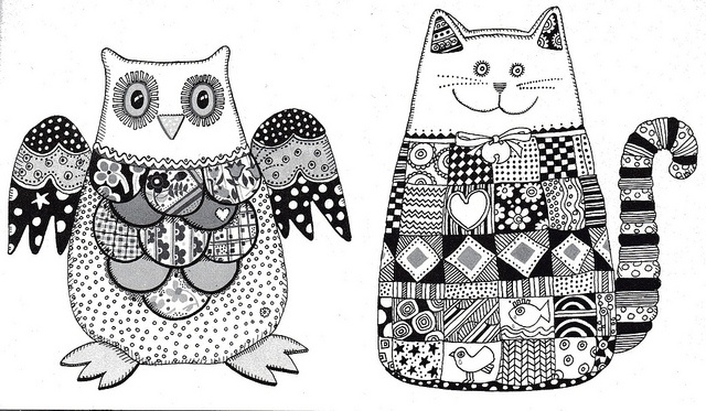 Cat and owl templates for patchwork softies by elizabethcake