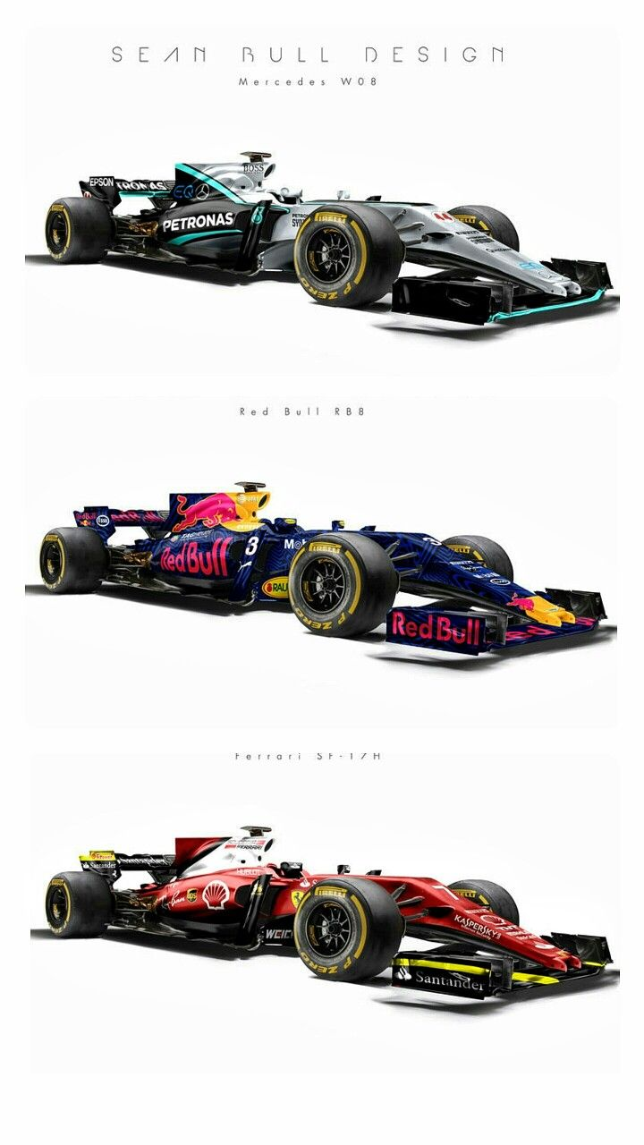 """F1 2017 Top Contenders: Mercedes W08, Red Bull RB13, & Ferrari SF17. F1 has made aesthetics a central pillar of future regulations. 2017's cars are set to look more """"aggressive"""" thanks to regulations to make them wider, heavier and run on fatter tyres. Wings will be wider, with the rear wing lower than is currently the case. British graphic artist Sean Bull shows us likely looks for top contenders in 2017."""