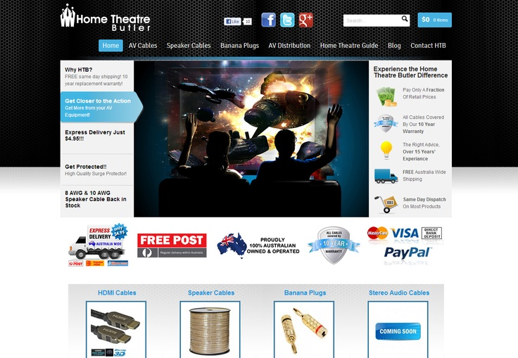 Online shop design for Home Theatre Butler