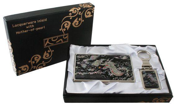 Nacre Mother of pearl Business card holder key ring holder gift sets, business card case keychain present box black dragon design#53