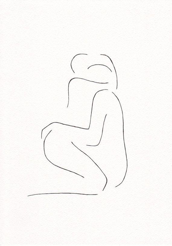 Abstract erotic bedroom art. Minimalist couple line art. by siret