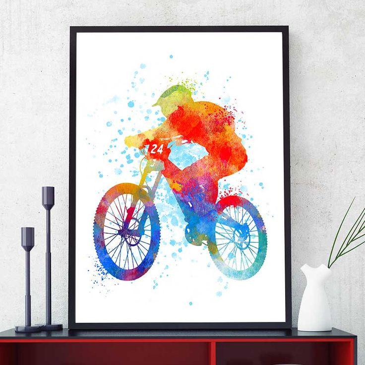 Mountain Bike Gift, Mountain Bike Art, Mountain Bike Print, Watercolour Prints, Sports Decor, Gift For Him, Mountain Biker (N003) by PointDot on Etsy