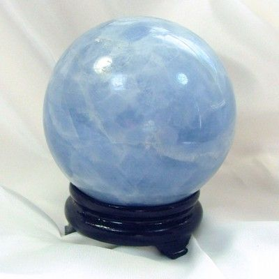 Blue calcite crystal ball - dream recall/astral travel/emotionally soothing/meditation/memory/lethargy