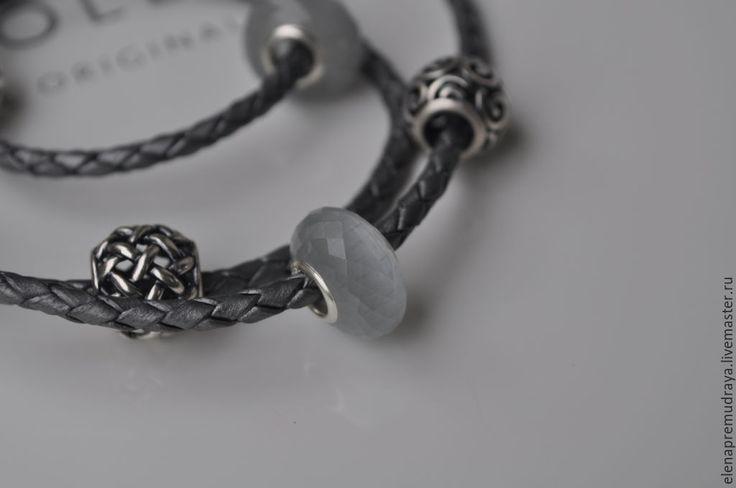 Купить Кошачий глаз - бусина из искусственного камня для Pandora и Trollbeads - серый, trollbeads, pandora, пандора