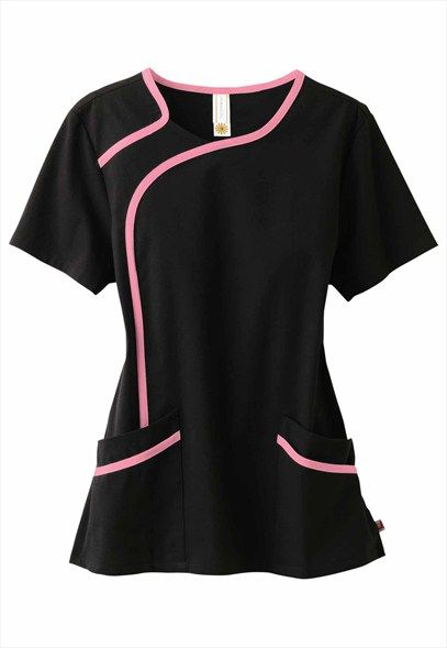 Urbane sport stretch contrast trim scrub top.