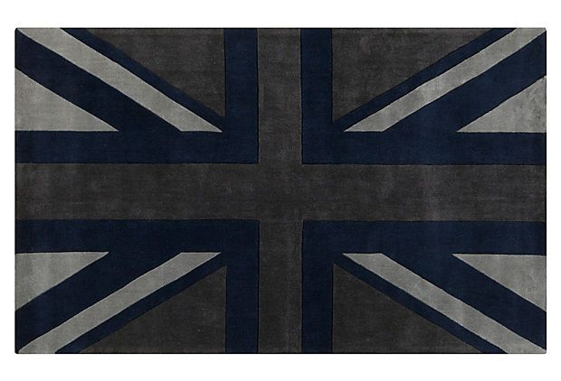 Union Jack Rug Flint Gray On Onekingslane Com Home Sweet Pinterest Room And Living Rooms
