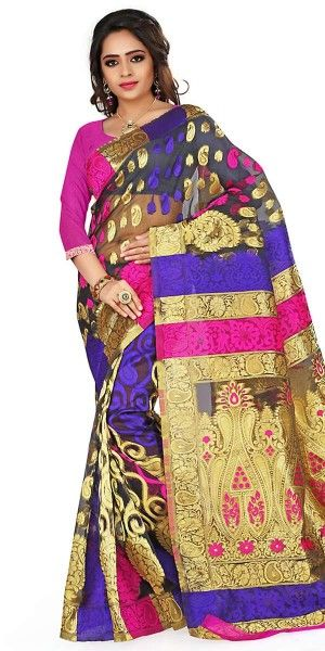 Aquatic Black And Multi-Color Silk Saree With Blouse.