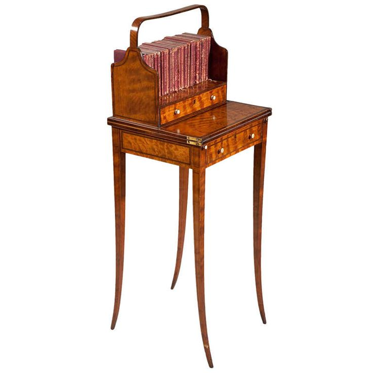 18thC Sheraton Satinwood Cheveret Table, (bookcase/desk), George III