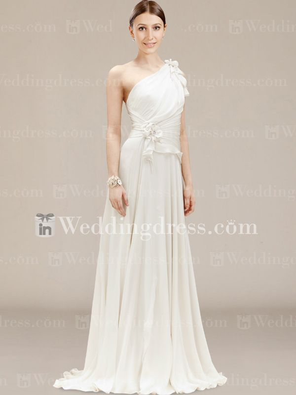 Informal One-Shoulder Wedding Gown with Flowers BC026