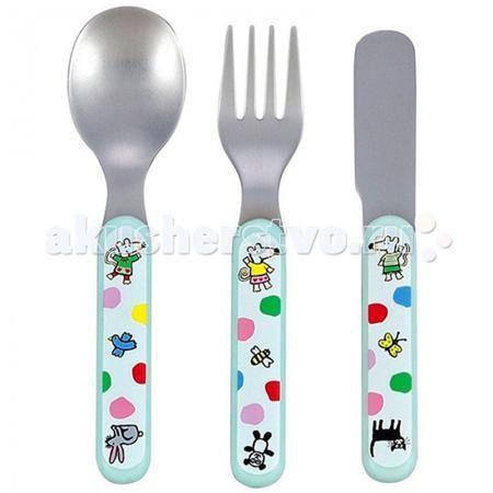 Petit Jour Набор столовых приборов Mimi  — 1239р. --------------  Petit Jour Набор столовых приборов Mimi выполнен из нержавеющей стали.   Все приборы дополнены удобными ручками из пластика розового цвета.  В наборе: вилка, ложка и нож.  Размер: 11х19х2 см