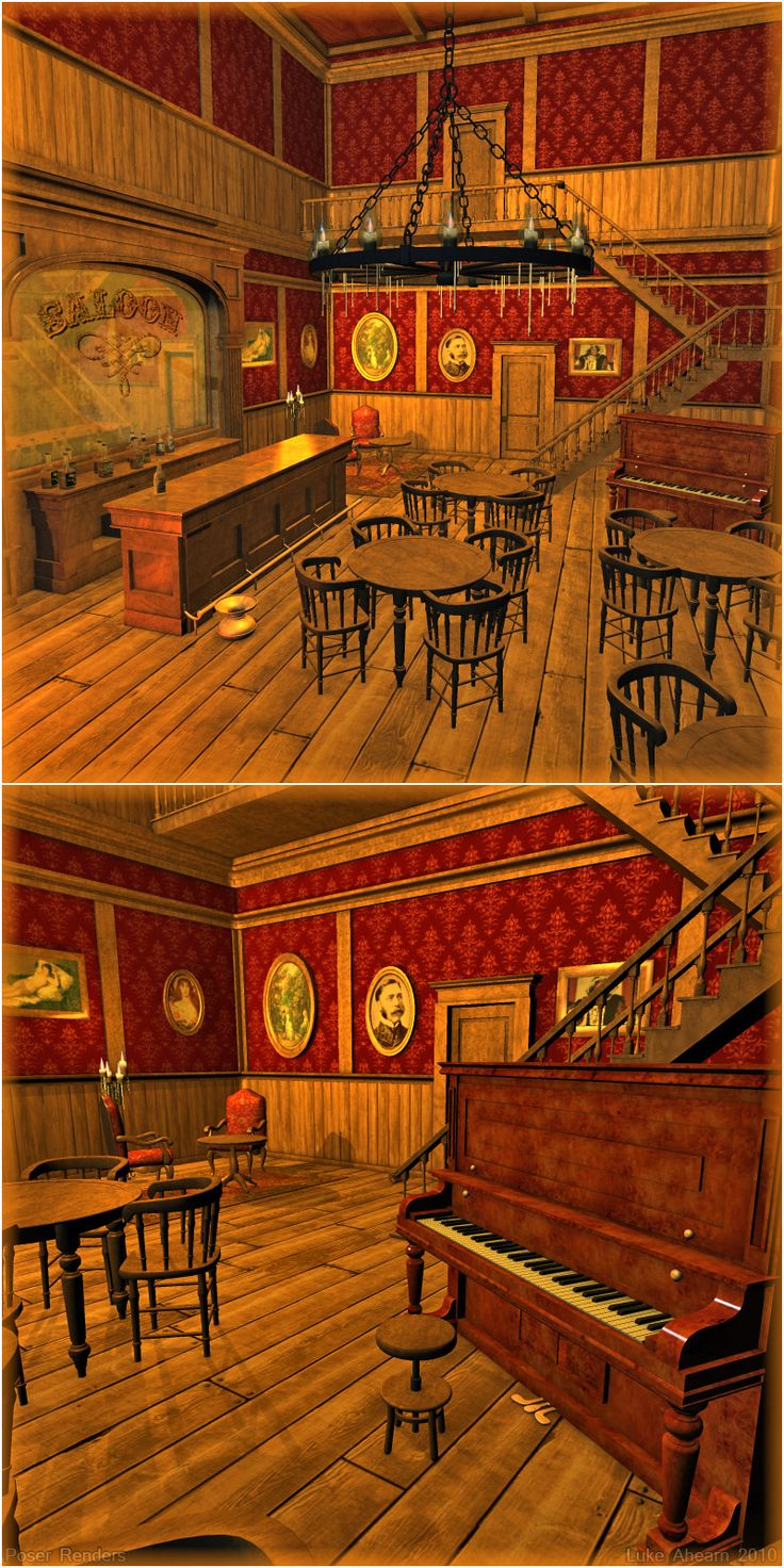 I want a saloon themed bar room.