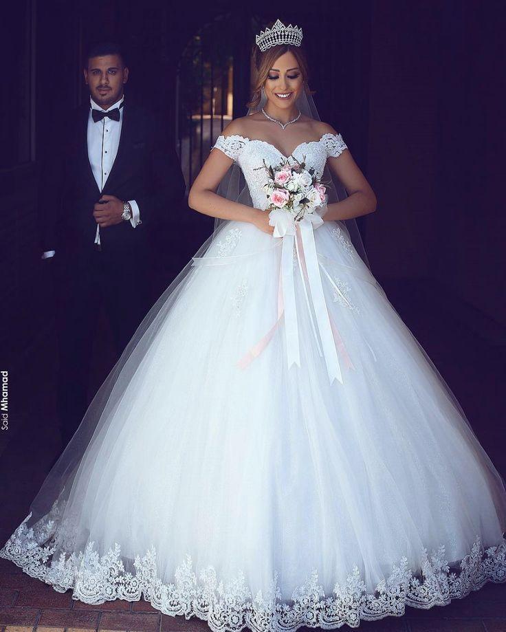Romantisch Weiß Brautkleider Mit Spitze Schulterfrei Prinzessin Tüll Brautmode…