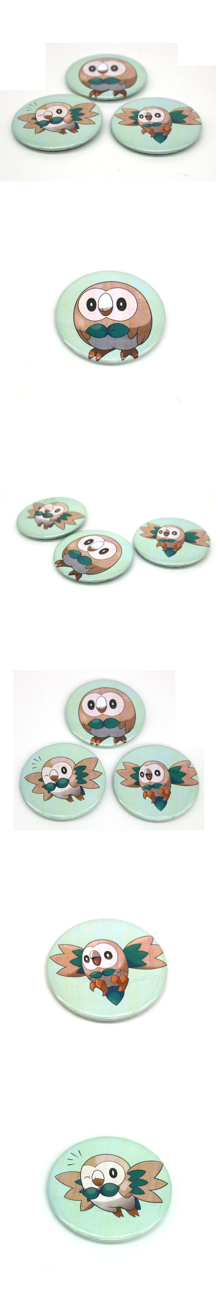 New Sun and Moon Starters Rowlet Pin BUTTONS Badges Brooches School Bag Badge Game Collection Great Gift For Unisex Fans