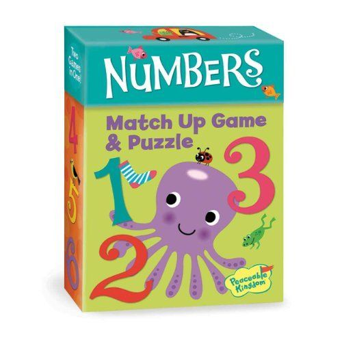 "Match Up Game Numbers by Peacable Kingdom. $8.99. Includes 24 3 1/2"" x 5"" durable game/puzzle cards, instructions and parent learning prompts. Two great games in one colorful box of fun. Match the game cards for a classic memory game. Arrange the sturdy game cards to create a challenging 24-piece floor puzzle. For ages 2 years and older. Three levels of play!  There is face-up match up for the youngest players, memory match up keeps the challenge going and the..."
