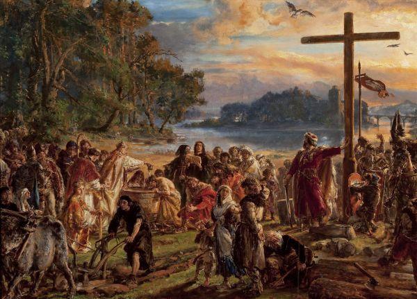 Zaprowadzenie chrześcijaństwa RP965, z cyklu Dzieje Cywilizacji w Polsce - Jan Matejko