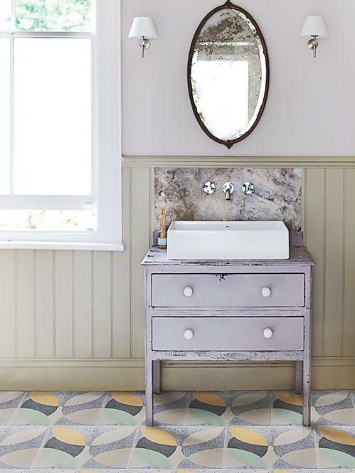 decoracao lavabo rustico : decoracao lavabo rustico:Banheiro Rustico com Piso Estampado.