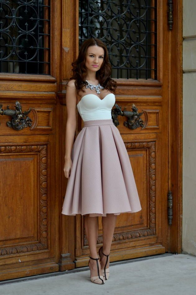 Pleated Midi A-skirt and Bustier top