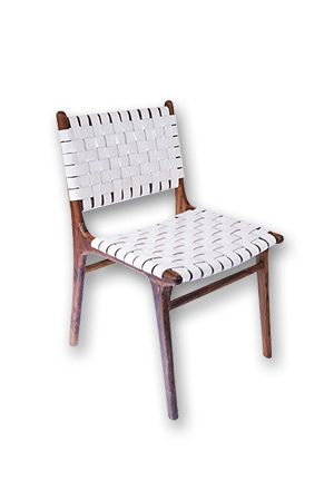 Danish Leather Strapping Chair - White