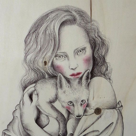 Guarda questo articolo nel mio negozio Etsy https://www.etsy.com/listing/228501552/the-girl-and-the-fox2015pen-on-wood42-cm