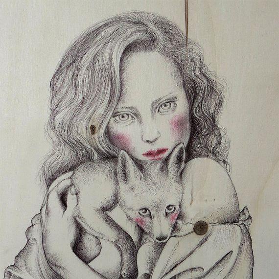 Guarda questo articolo nel mio negozio Etsy https://www.etsy.com/listing/228501552/the-girl-and-the-fox2015pen-on-wood42-cm