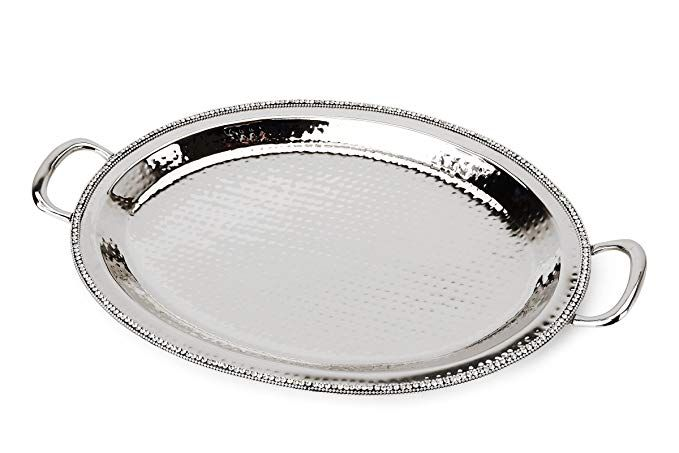 Classic Touch Sdt884 Hammered Stainless Steel Oval Tray Trimmed With Exquisite Diamonds Review Oval Tray Exquisite Diamonds Dining Accessories