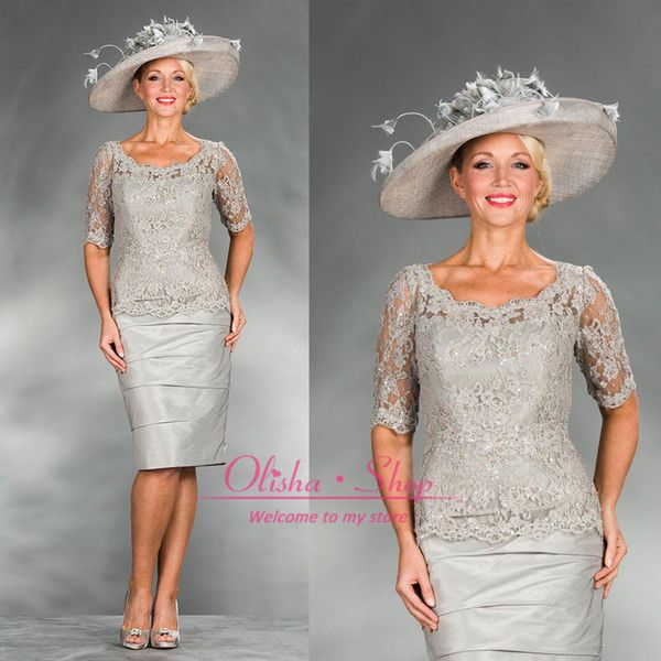 2015 silver plus size mother of the bride dresses with long sleeves sheer taffeta party dress prom gowns knee length cocktail dress BO6595