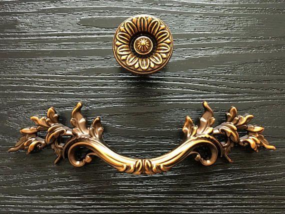 "3"" Drawer Pulls Handles Dresser Pull Handle Cabinet Pull Door Knobs Handles Antique Brass Flower Leafy Leaf Knob Rustic 76 mm ARoseRambling"