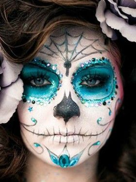 Sparkly sugar skull Catrina makeup inspiration - not sure if I could pull this off but it's amazing