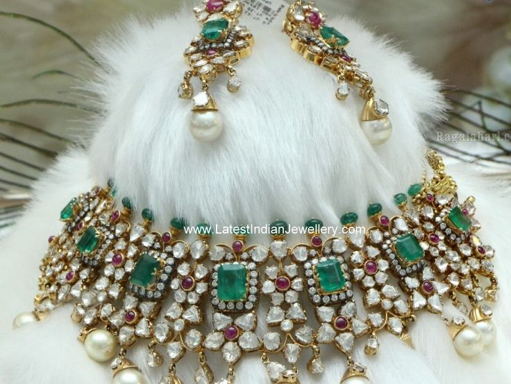 Indian diamond jewellery | Polki Emerald Victorian Bridal Jewellery
