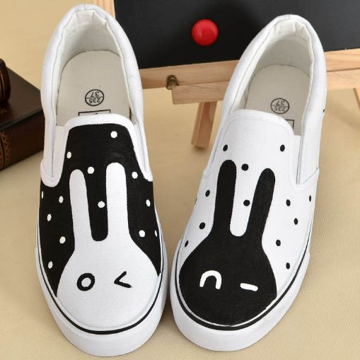 Cute kawaii sweet fashion black and white rabbit couple canvas shoes boots