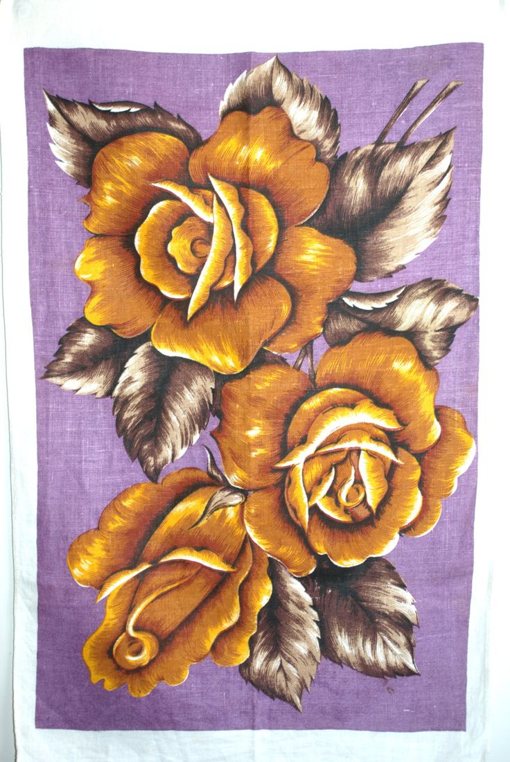 Yellow Roses Shabby Chic Pure Linen Tea Towel - 60s Roses Floral Purple Tea Towel - Cottage Chic by FunkyKoala on Etsy