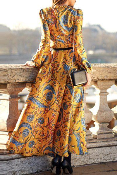 Maxi Long Sleeve Floral Swing Dress - GOLDEN XL