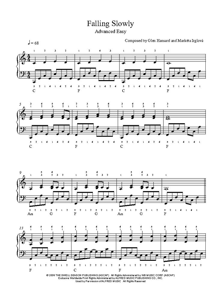 Falling Slowly by Glen Hansard and Markéta Irglová Piano Sheet Music | Advanced Level