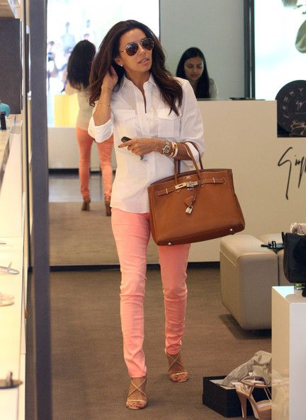Eva Longoria, colouring & bag & pants.: Pink Skinnies, Style, Color, Pink Pants, Outfit, Spring Summer, White Button Down