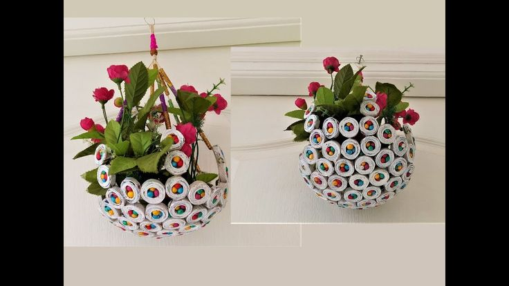 how to make newspaper flower wall hanging