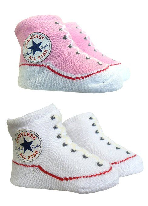 Converse Baby Booties Socks - Pink / White - 0 -6 Months