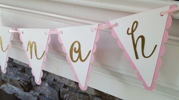roze en goud eerste verjaardag banner  roze en door declanandsmith