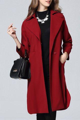 $108.99 Red Lapel Collar Wrap Coat