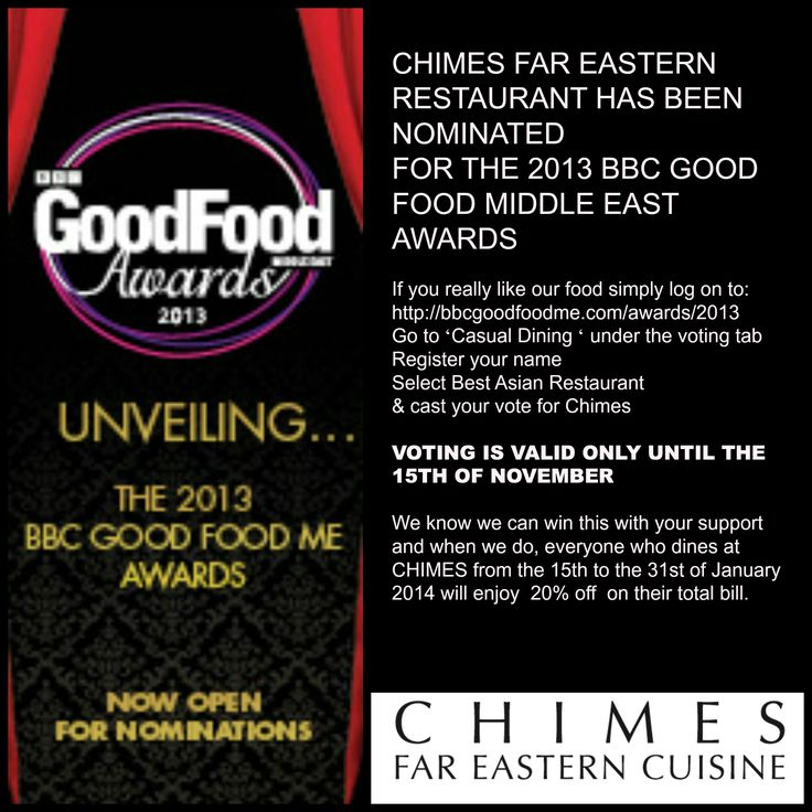 BBCgood food awards .... Vote for Chimes if you love our food.